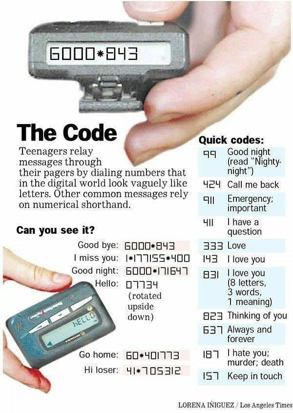 In the 90s teens used pagers as the original instant messenger