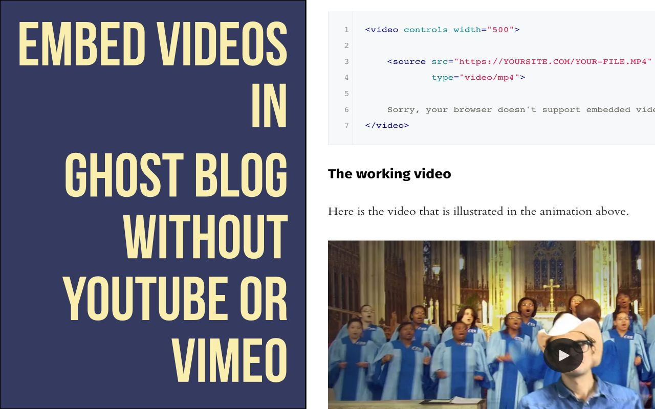 Embed Videos in Ghost Blog without YouTube or Vimeo
